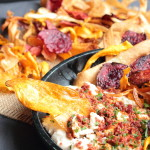 Vegetable crisps with a smoky white bean and bacon powder ...
