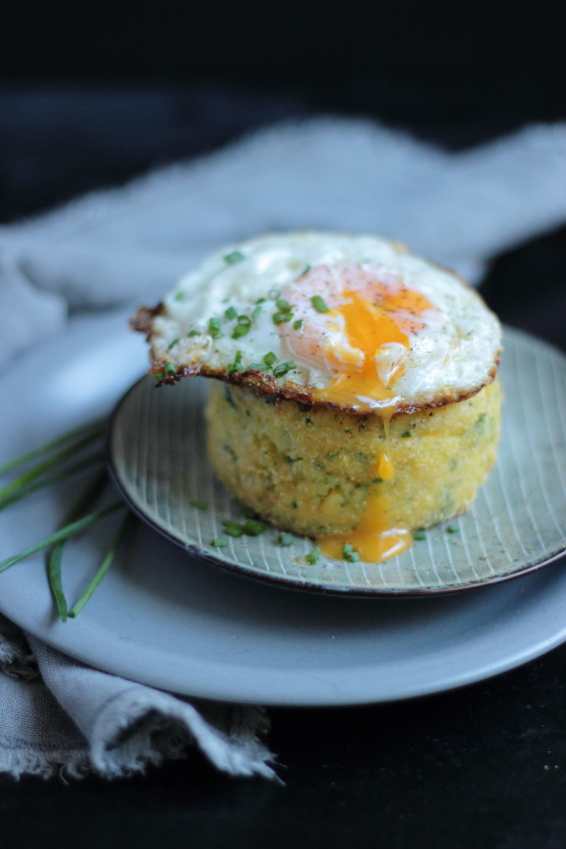 herb polenta cake and egg