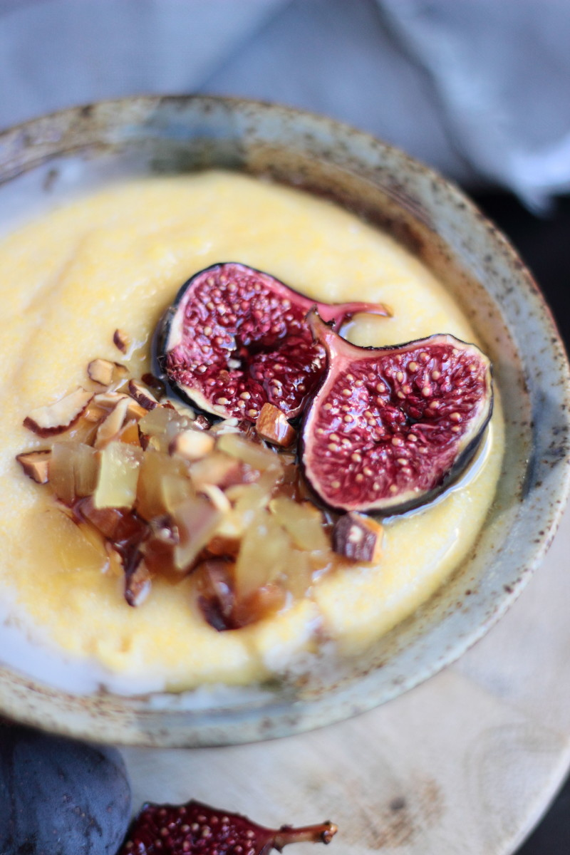 fig almond polenta porridge