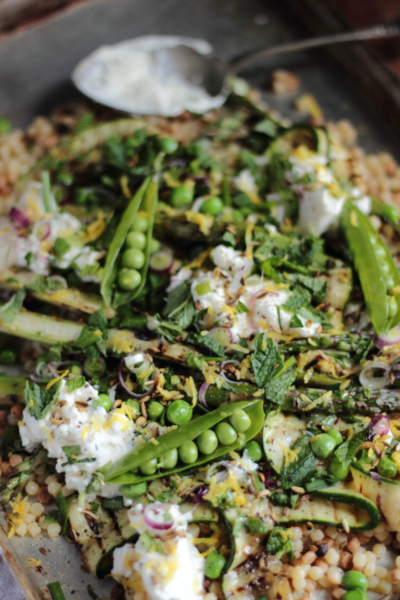 Griddled asparagus fregola salad