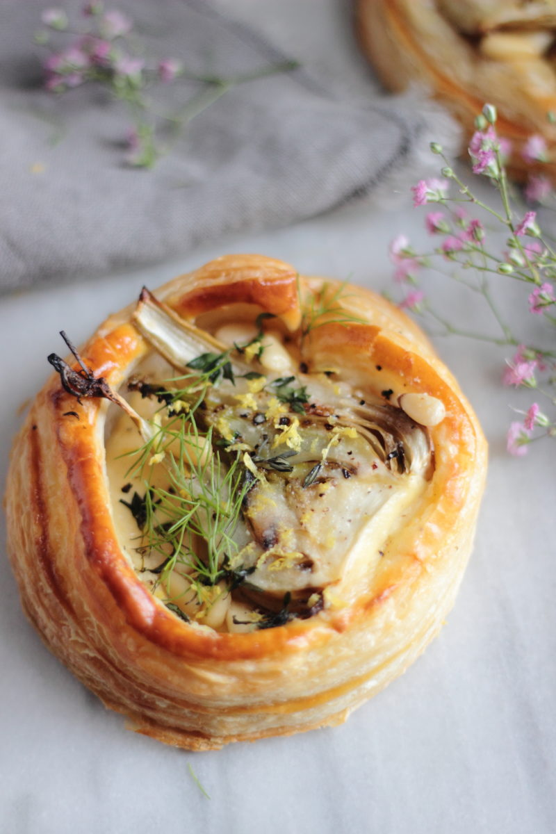 fennel tarts with pine nuts