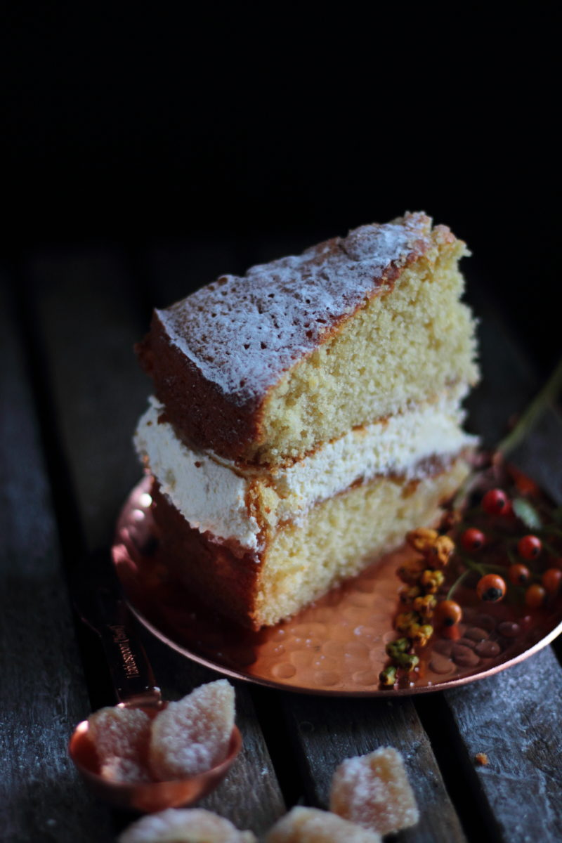 Quince and ginger sponge cake