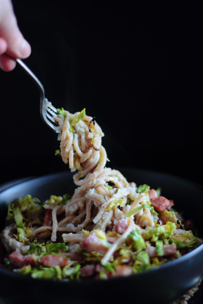 ... and Blue Cheese Spaghetti with Crispy Sprouts and Bacon | Figs & Pigs