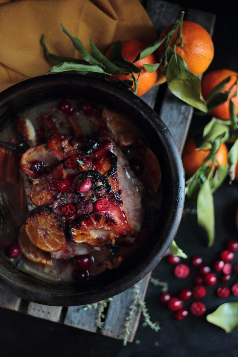 Roasted pork loin in a clementine and cranberry glaze
