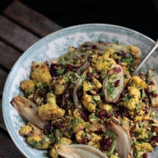 dukkah cauliflower and roasted shallot salad