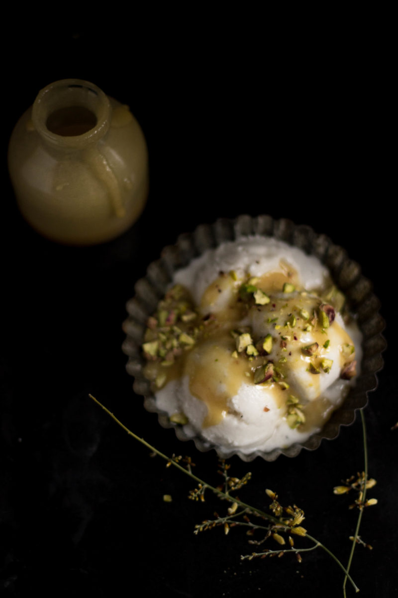 Banana ice cream with a miso and beer caramel