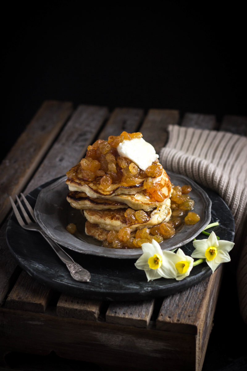ricotta and orange pancakes with golden sultana compote