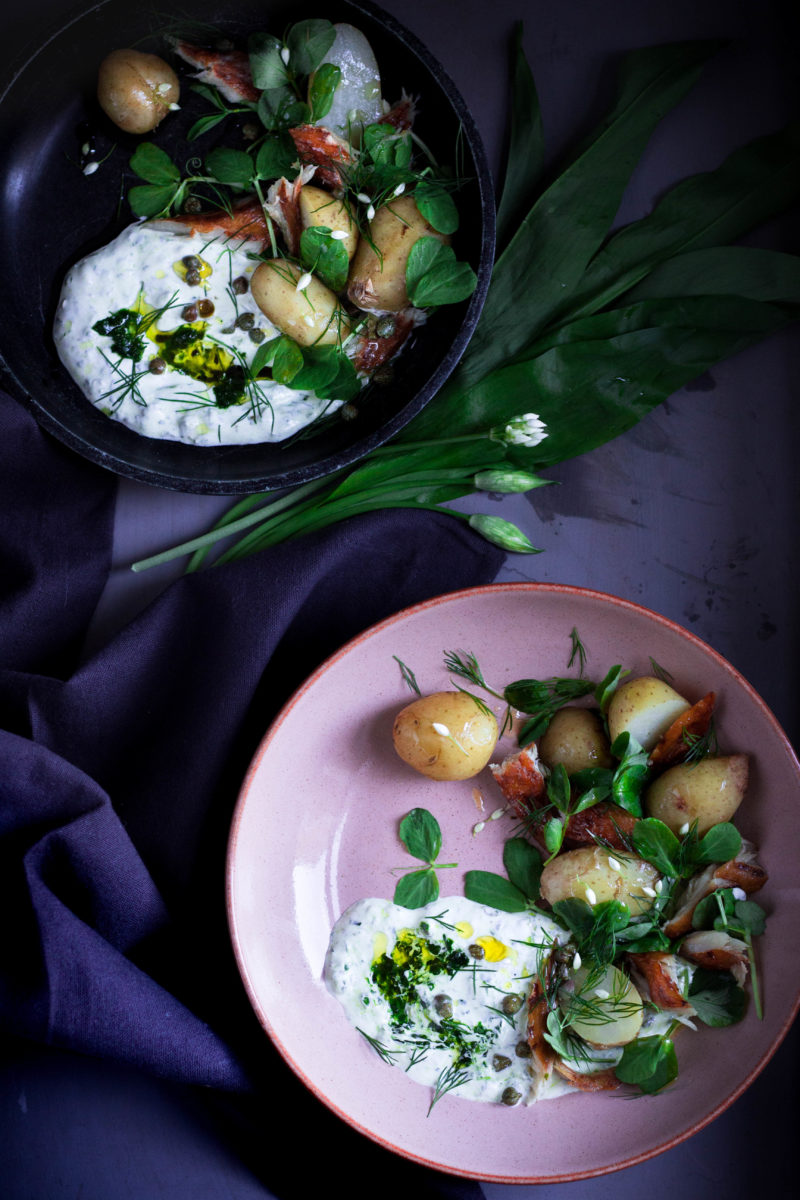 Jersey royals and smoked mackerel salad with wild garlic sour cream