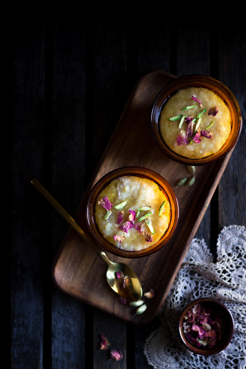 rose and cardamom set rice pudding