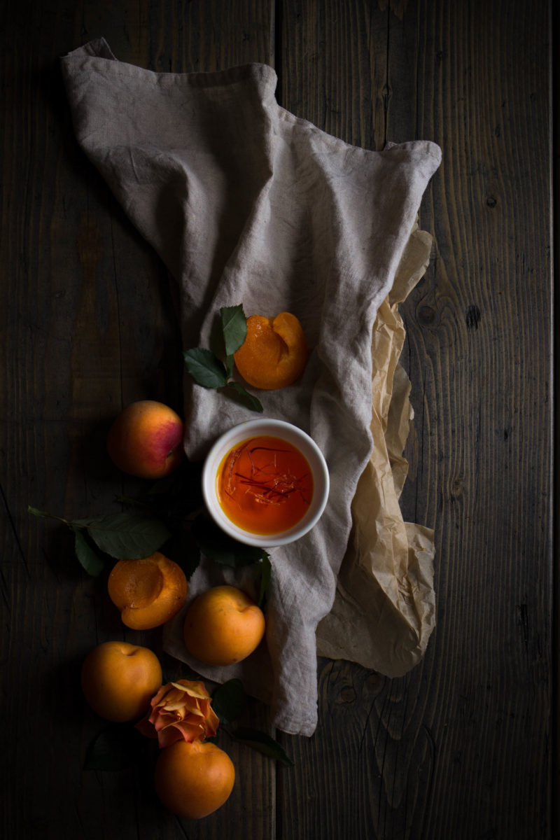 Honey roasted apricot and saffron cakes