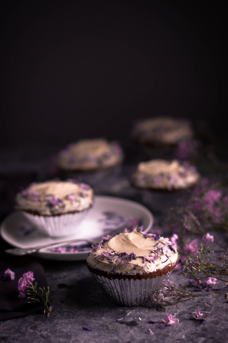 Spelt, almond and rhubarb cupcakes with a lilac honey buttercream