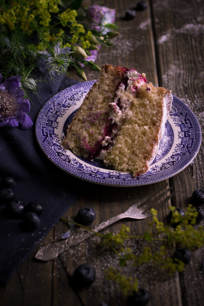 Blueberry and lemon curd victoria sponge cake