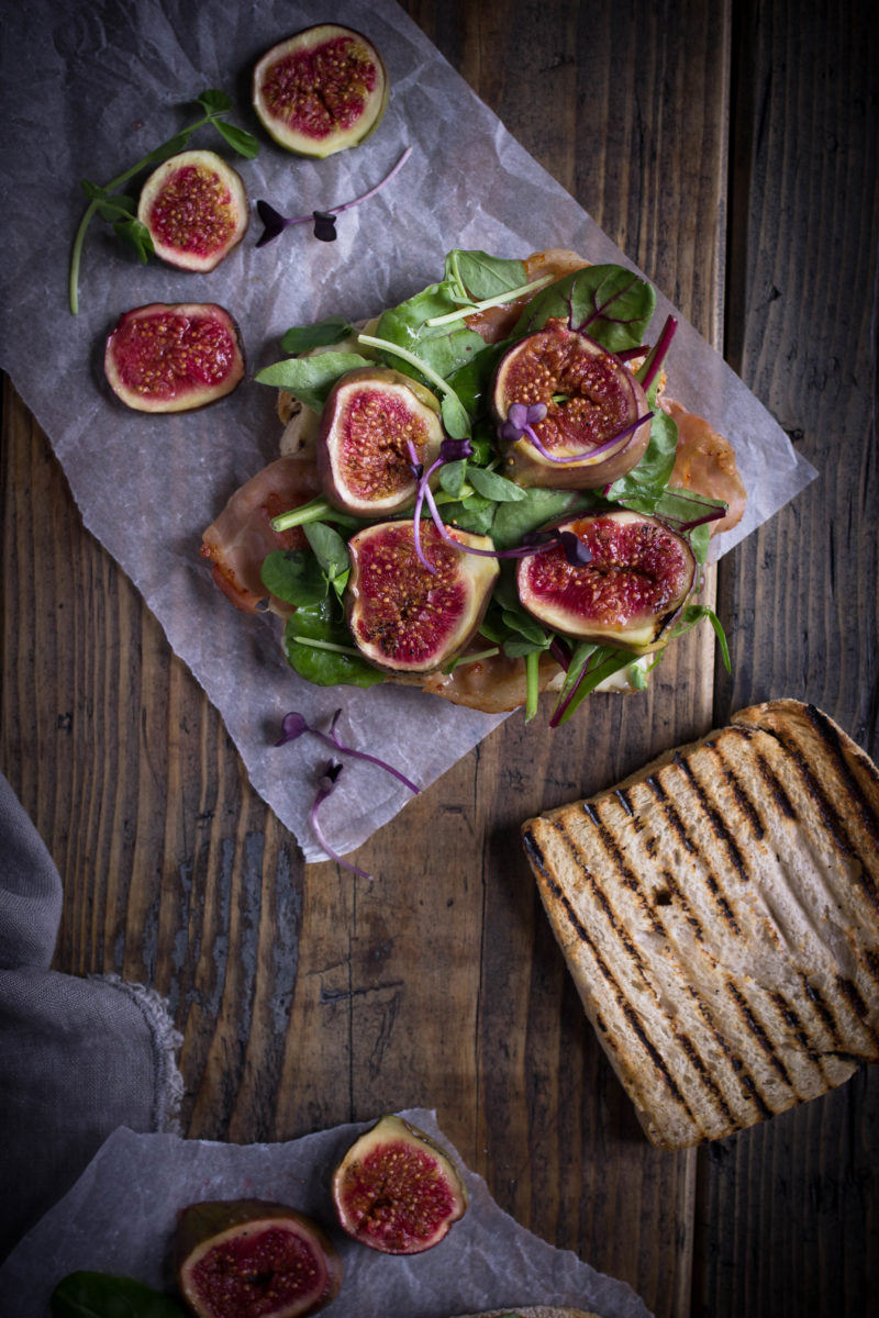 Caramelised figs crispy prosciutto and brie sandwich