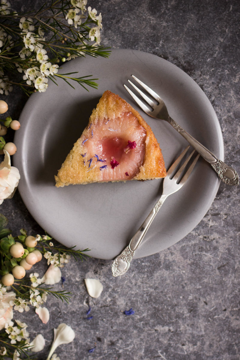 Hibiscus poached pear upside down cake