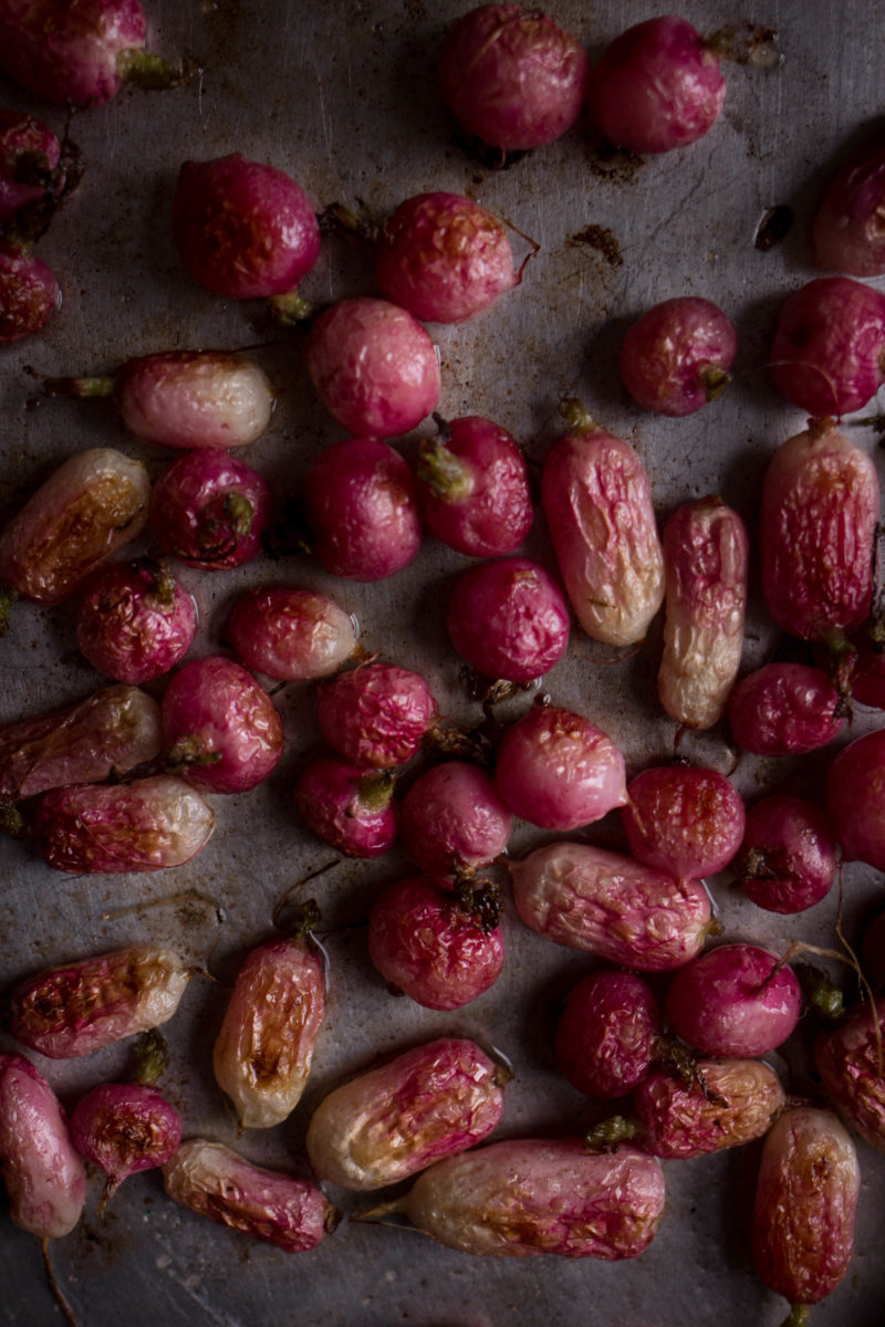 Roasted radish and almond risotto